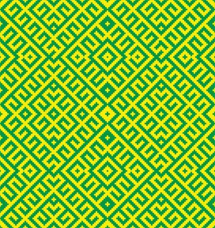 Slavic ornament seamless vector pattern, Russian, Ukrainian, Belarus pattern for embroidery. Yellow green monochrome, traditional ethnic ornament. Standard-Bild - 96390070