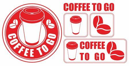 Coffee to go. Set of vector images. Coffee sale design Foto de archivo - 96288421