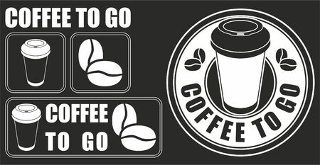 Coffee to go. Set of vector images. Coffee sale design Foto de archivo - 96288419