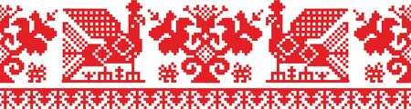 Slavic ornament vector pattern, Russian, Ukrainian, Belarus pattern for embroidery. Red monochrome, traditional ethnic ornament.