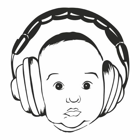Babys face with headphones vector illustration Çizim