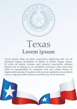 Texas flag. Template for the award, an official document with the flag of the state of Texas Standard-Bild - 97856954