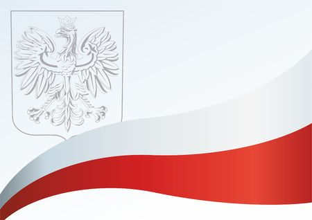 Flag of Poland, Polish flag, the template for the award, an official document with the flag and the symbol of the Republic of Poland Vettoriali