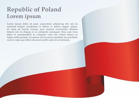 Flag of Poland, Polish flag, the template for the award, an official document with the flag and symbol of the Republic of Poland 矢量图像