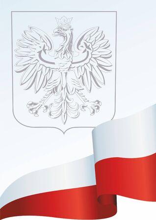Flag of Poland, Polish flag, the template for the award, an official document with the flag and the symbol of the Republic of Poland Illusztráció