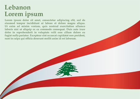 Bandera del Líbano, un país de la República, 22 de noviembre, Día de la Independencia del Líbano, brillante, colorida ilustración vectorial.