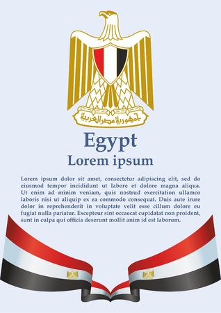 Flag of Egypt, Arab Republic of Egypt. template for award design, an official document with the flag of the Arab Republic of Egypt. Bright, colorful vector illustration Illustration