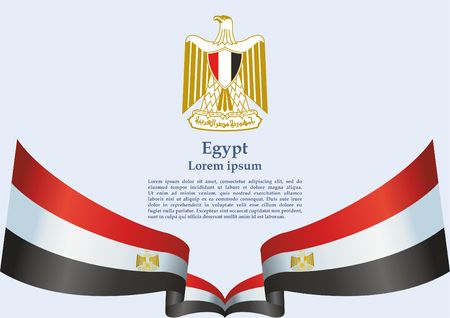 Flag of Egypt, Arab Republic of Egypt. template for award design, an official document with the flag of the Arab Republic of Egypt. Bright, colorful vector illustration  イラスト・ベクター素材