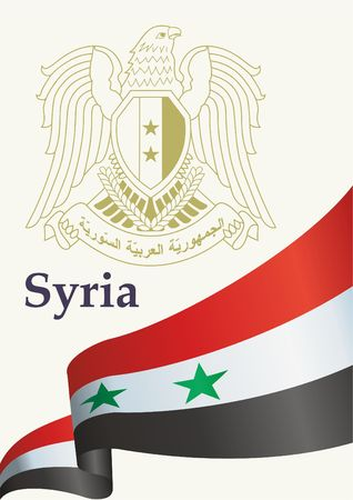 Flag of Syria illustration. Official document award template design