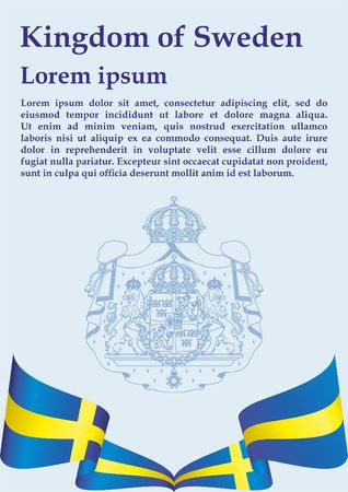 Flag of Sweden, Kingdom of Sweden. Bright, colorful vector illustration