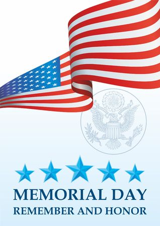 Memorial day, Flag of the United States. Remember and Honor, The American flag, The Stars and Stripes, Bright, colorful vector illustration