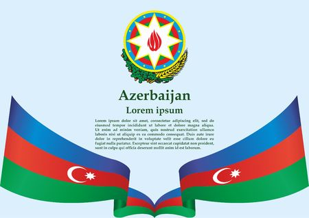 Flag of Azerbaijan, Republic of Azerbaijan. template for award design, an official document with the flag of Azerbaijan. Bright, colorful vector illustration