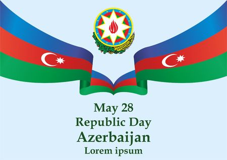 Flag of Azerbaijan, Republic Day holiday, May 28. template for award design, an official document with the flag of Azerbaijan. Bright, colorful vector illustration