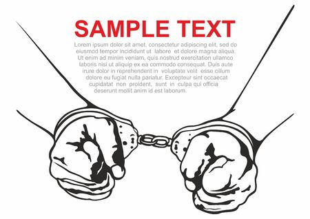 Handcuffs. imprisonment. Vector illustration.