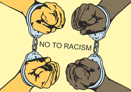 Handcuffs. racial discrimination. Motivational poster against racism and discrimination. Vector illustration. Illustration