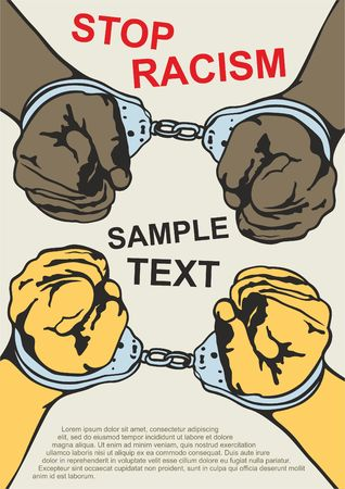 Handcuffs. racial discrimination. Motivational poster against racism and discrimination. Vector illustration. 일러스트