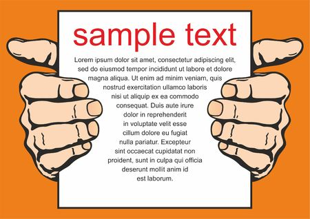 The hand holds the sheet with the message. Vector illustration
