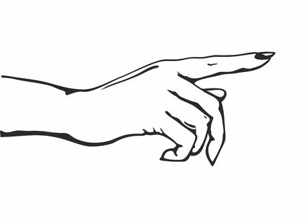 Hand with pointing finger. Vector Illustration. Potential Client Politician Businessman Elected. Drawing of pointing hand.