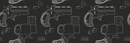 Vector seamless pattern. Firearms, Shooting gun, handgun. Illustration