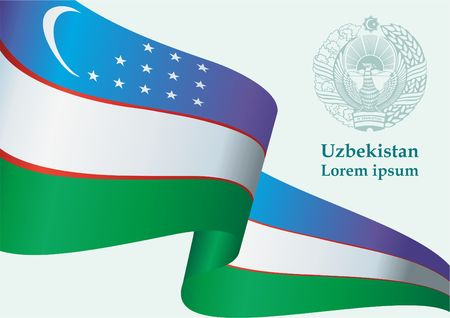 Flag of Uzbekistan, Republic of Uzbekistan. Template for award design, an official document with the flag of Uzbekistan. Bright, colorful vector illustration Illustration