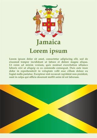 Flag of Jamaica, Commonwealth of Nations. Template for award design, an official document with the flag of Jamaica. Bright, colorful vector illustration