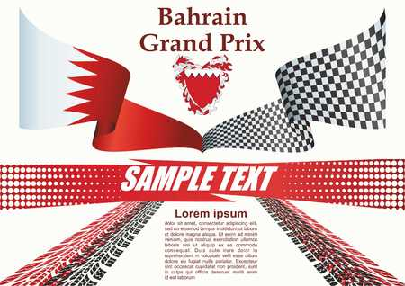 Bahrain Grand Prix, Bahrain International Circuit. Template for award design, an official document with the flag of Bahrain. Bright, colorful vector illustration