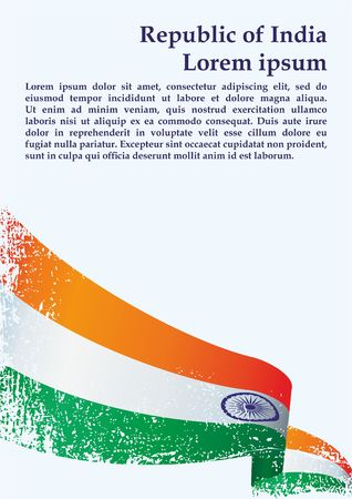 Flag of India, Republic of India. Template for award design, an official document with the flag of India. Bright, colorful vector illustration
