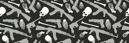 Skull, bones and machine gun, Seamless pattern with image a skull and weapons, Day of The Dead Archivio Fotografico - 109595405