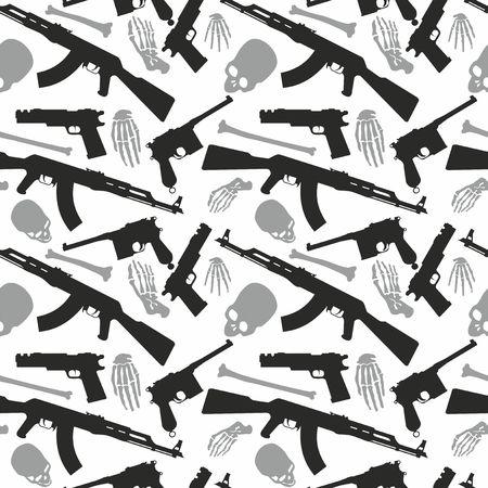 Crâne, os et mitrailleuse, modèle sans couture avec image un crâne et des armes, jour des morts Vecteurs