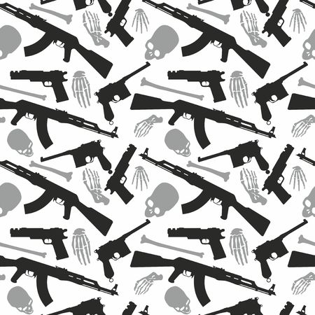 Skull, bones and machine gun, Seamless pattern with image a skull and weapons, Day of The Dead