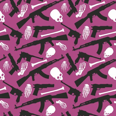 Skull, bones and machine gun, Seamless pattern with image a skull and weapons, Day of The Dead Archivio Fotografico - 109595409