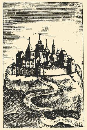 Old engraving. The fraternity print-shop. Castle on the mountain