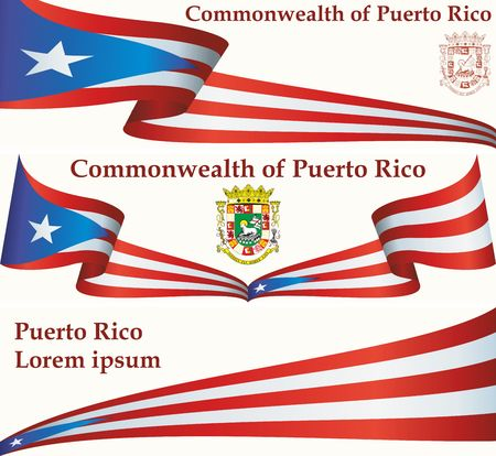 Flag of Puerto Rico, Commonwealth of Puerto Rico. Flag of Puerto Rico. Bright, colorful vector illustration.