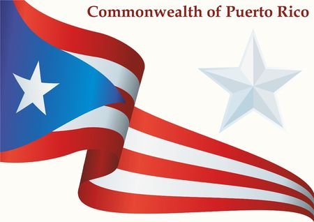 Flag of Puerto Rico, Commonwealth of Puerto Rico. Flag of Puerto Rico. Bright, colorful vector illustration. Illustration