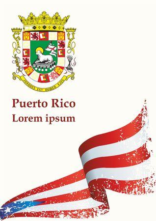 Flag of Puerto Rico, Commonwealth of Puerto Rico. Flag of Puerto Rico. Bright, colorful vector illustration. Ilustrace