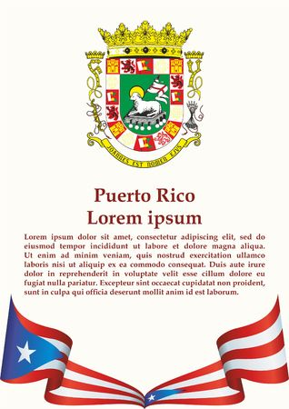 Flag of Puerto Rico, Commonwealth of Puerto Rico. Flag of Puerto Rico. Bright, colorful vector illustration. Ilustração
