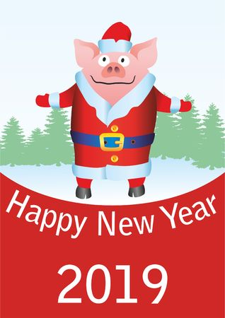 Happy New Year 2019 funny card design. With cartoon pigs. Funny Christmas pig, Chinese year of the pig. Postcard with funny pig. Illustration