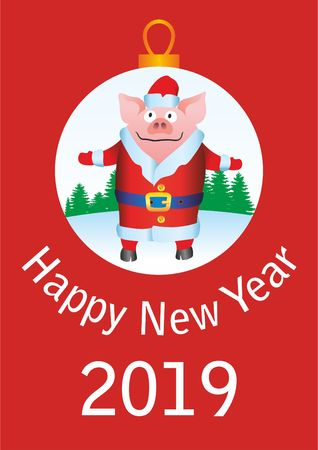 Happy New Year 2019 funny card design. With cartoon pigs. Funny Christmas pig, Chinese year of the pig. Postcard with funny pig  イラスト・ベクター素材