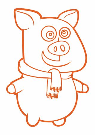 Christmas piggy, Merry Christmas and Happy New Year background with pigs, vector, illustration