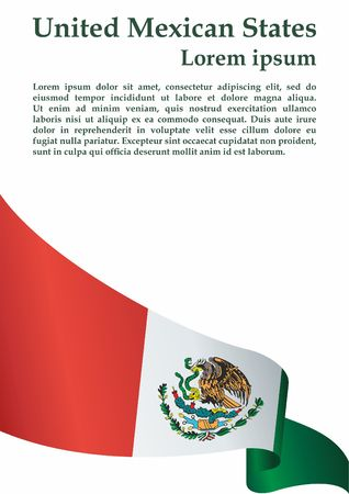 Flag of Mexico, United Mexican States. Template for the award of Mexico. Bright, colorful vector illustration.