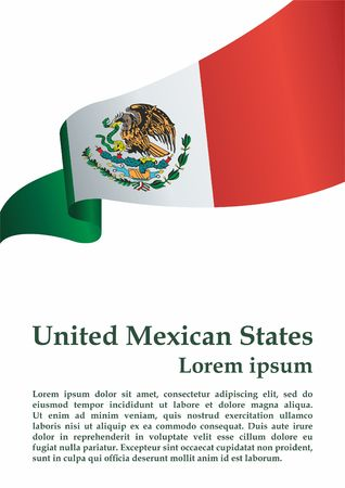 Flag of Mexico, United Mexican States. Template for the award of Mexico. Bright, colorful vector illustration. 写真素材 - 113421556