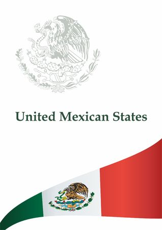Flag of Mexico, United Mexican States. Template for the award of Mexico. Bright, colorful vector illustration. 写真素材 - 113421557