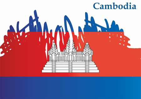 Flag of Cambodia, Kingdom of Cambodia. Southeast Asia. Template for the Cambodia. Bright, colorful vector illustration.