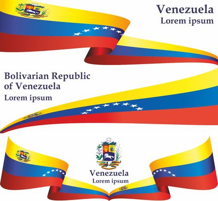 Flag of Venezuela, Bolivarian Republic of Venezuela, Latin America. Venezuela. Bright, colorful vector illustration.