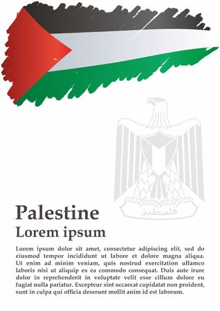 Flag of Palestine, State of Palestine. Bright, colorful vector illustration.