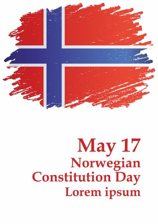 May 17, Flag of Norway. Kingdom of Norway. Template for the award of Norway. Bright, colorful vector illustration. Illustration