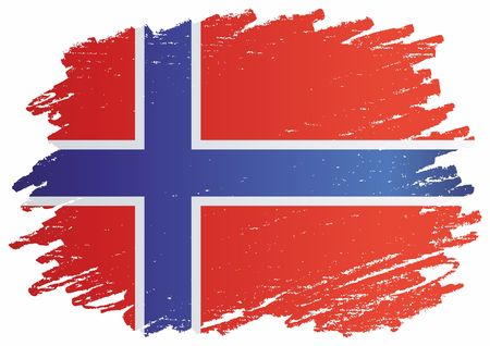 Flag of Norway, Kingdom of Norway. Template for the award of Norway. Bright, colorful vector illustration.