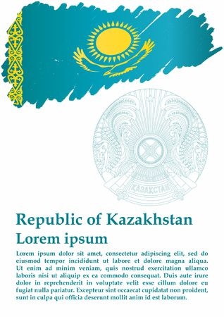Flag of Kazakhstan, Republic of Kazakhstan. Template for award design with official flag of Kazakhstan. Bright, colorful vector illustration.