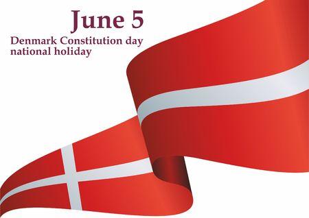Flag of Denmark, Denmark. Template for the design of the flag of Denmark. Bright, colorful vector illustration.