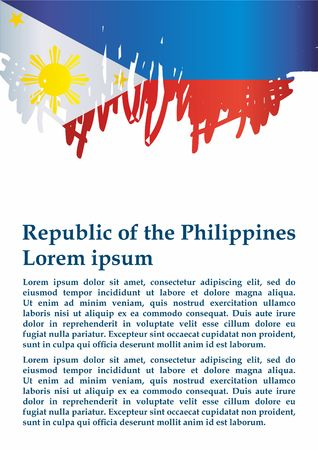 Flag of the Philippines, Republic of the Philippines. The flag of the Philippines. Bright, colorful vector illustration.